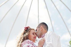 Close-up portrait of a wedding coupl