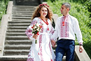 Lovely couple in ukrainian tradition