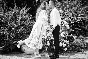 Cute wedding couple in ukrainian tra
