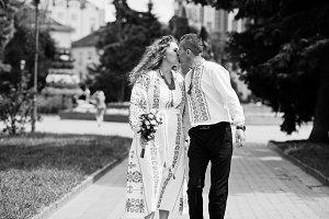 Lovely wedding couple in ukrainian t