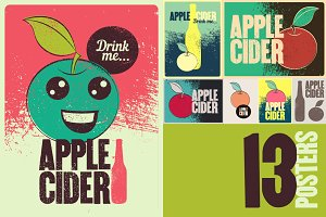 Apple Cider grunge style posters.