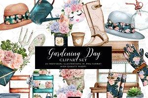 Floral Garden Tools Clipart Set