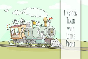 Cartoon train with little People