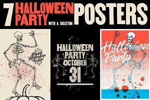Halloween Party vintage posters.