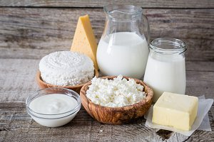 Selection of dairy products on