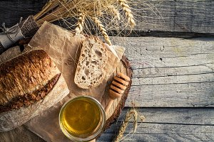 Sliced bread, honey, wheat, rustic
