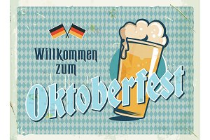 Oktoberfest metal sign with