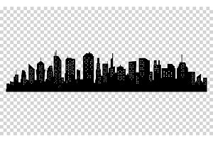 Silhouette of city with black