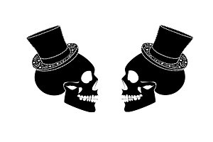 Gay marriage wedding couple, skull i