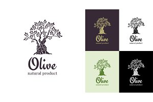 Olive tree vector logo design