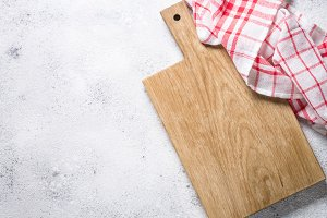 Empty wooden cutting board and