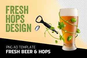 Fresh beer and hops - ad