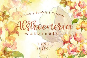 Watercolor yellow alstroemeria set