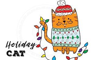 Holiday Cat Illustration