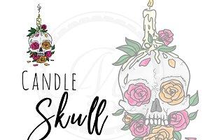Memorial Skull with Roses
