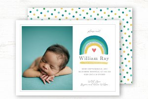 Rainbow Baby Birth Announcement Card