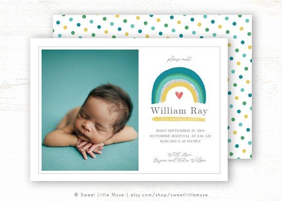 Rainbow Baby Birth Announcement Card Card Templates Creative Market