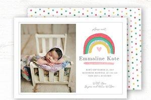 Rainbow Baby Girl Birth Announcement