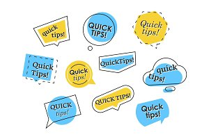 Set of colorful quick tips logos