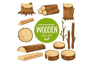 Set of vector wood logs