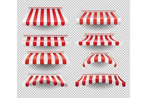 Set of striped tents