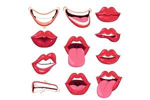 Set of playful cartoon red lips