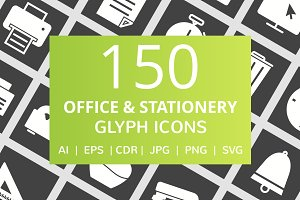150 Office & Stationery Glyph Icons