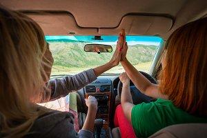 A women  in car