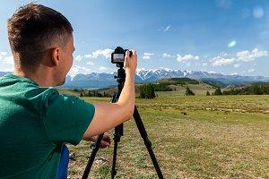 photographer taking nature photo