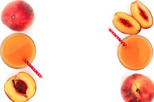 peach juice isolated on white
