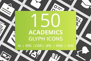 150 Academics Glyph Inverted Icons