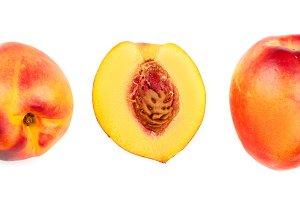 ripe nectarine isolated on white