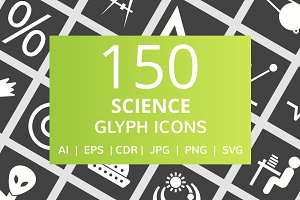 150 Science Glyph Inverted Icons
