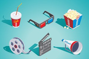 Isometric Cinema Elements Set