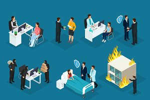 Isometric People And Insurance Set