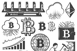 Vintage Bitcoin Currency Icons Set