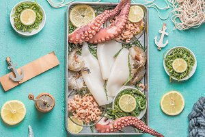 Various seafood in tray