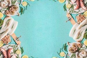Seafood frame background