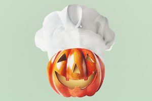 Pumpkin Jack head with chef hat