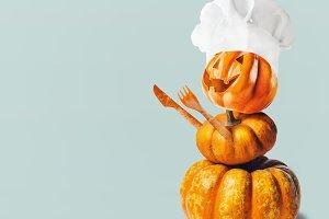 Pumpkin Jack with chef hat