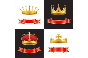 Royal gold crown with jewel and red