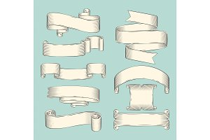 Hand drawn sketch set of ribbons
