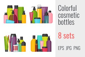 8 colorful cosmetic bottles sets