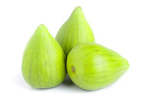 Ripe green fig fruit isolated on