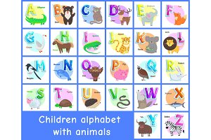 Children Alphabet Posters Set Vector
