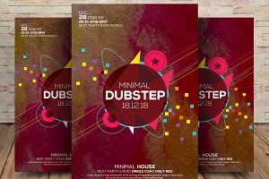 Minimal Dubstep Colors Party Flyer