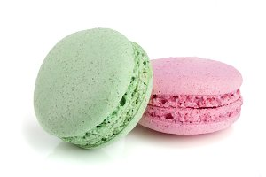 pink and green macaroon isolated on