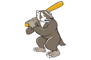 Badger Baseball Player Batting Isola