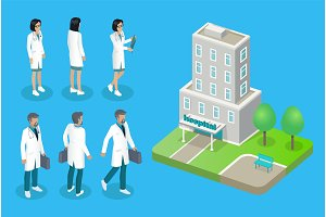 Doctors and Hospital House Isolated