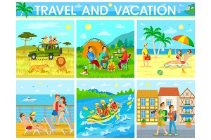 Travel and Vacation Colorful Vector